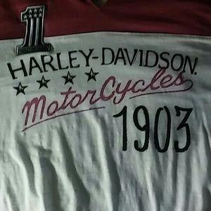 Harley-Davidson Tops - Long sleeve pink and white Harley Davidson Tee